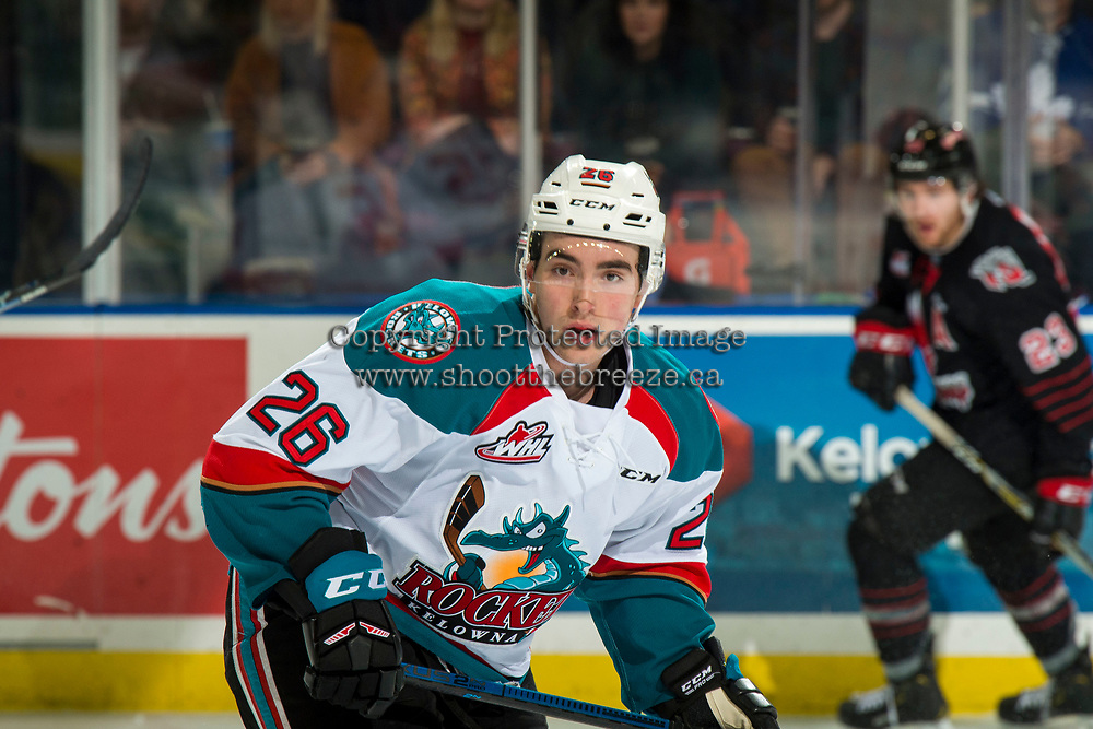 KELOWNA, CANADA - JANUARY 16:  Liam Kindree #26 of the Kelowna Rockets skates against the Moose Jaw Warriors on January 16, 2019 at Prospera Place in Kelowna, British Columbia, Canada.  (Photo by Marissa Baecker/Shoot the Breeze)