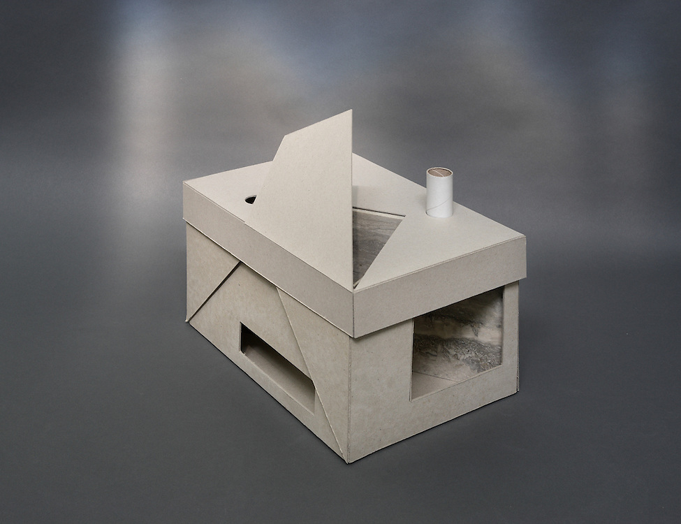 Box design for a stone supplier designed to showcase the qualities of a stone sample by the interplay of light and shadow on the material as would be the case in an actual constructed environment.