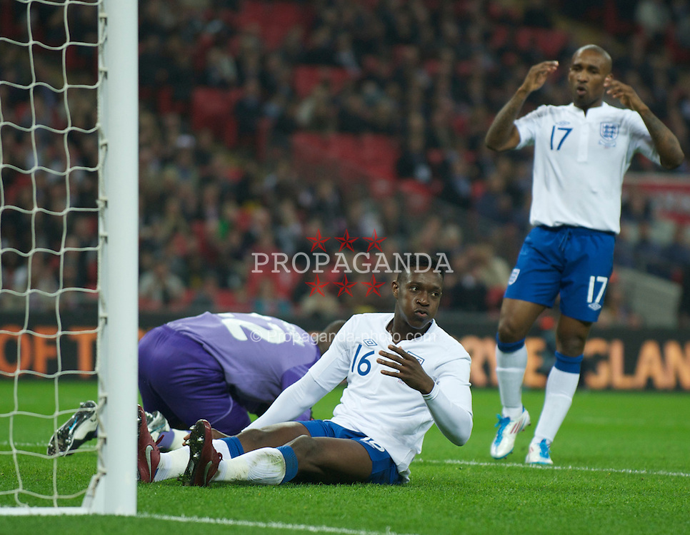 LONDON, ENGLAND - Tuesday, March 29, 2011: England's Daniel Welbeck looks dejected after missing a chance on his debut during the international friendly match against Ghana at Wembley Stadium. (Photo by David Rawcliffe/Propaganda)