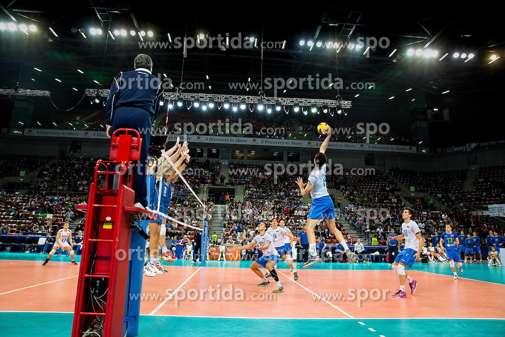 Mitja Gasparini #6 of Slovenia during volleyball match between National teams of Slovenia and Italy in 1st Semifinal of 2015 CEV Volleyball European Championship - Men, on October 17, 2015 in Arena Armeec, Sofia, Bulgaria. Photo by Vid Ponikvar / Sportida