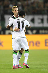 28.08.2014, Borussia Park, Moenchengladbach, GER, UEFA EL, Borussia Moenchengladbach vs FK Sarajevo, Play Off, R&uuml;ckspiel, im Bild Andre Hahn (Borussia Moenchengladbach #28) beim Torjubel mit Raffael (Borussia Moenchengladbach #11) // during the UEFA Europa league 2nd Leg, Play Off Match between Borussia Monchengladbach and FK Sarajevo at the Borussia Park in Moenchengladbach, Germany on 2014/08/28. EXPA Pictures &copy; 2014, PhotoCredit: EXPA/ Eibner-Pressefoto/ Schueler<br /> <br /> *****ATTENTION - OUT of GER*****