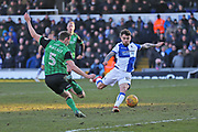 Bristol Rovers Tom Broadbent (16) attempts a shot on goal during the EFL Sky Bet League 1 match between Bristol Rovers and Scunthorpe United at the Memorial Stadium, Bristol, England on 24 February 2018. Picture by Gary Learmonth.