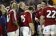 Lions Clive Woodward speaks to his players after the rugby test match between the All Blacks and the Lions played at Eden Park, Auckland, 09 July 2005. The All Blacks won 38-19 and the series 3-0. Photo: Michael Bradley/PHOTOSPORT