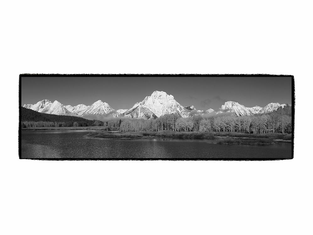 Grand Tetons - Oxbow Bend, WY - Panoramic - Black & White - Custom Border