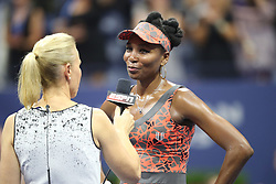 September 5, 2017 - New York City, New York, United States - Venus Williams of USA after defeating Petra Kvitova of Czech Republic (not seen) in Women's Singles Quarterfinal tennis match within the 2017 US Open Tennis Championships at Arthur Ashe Stadium in New York, United States on September 5, 2017. (Credit Image: © Foto Olimpik/NurPhoto via ZUMA Press)