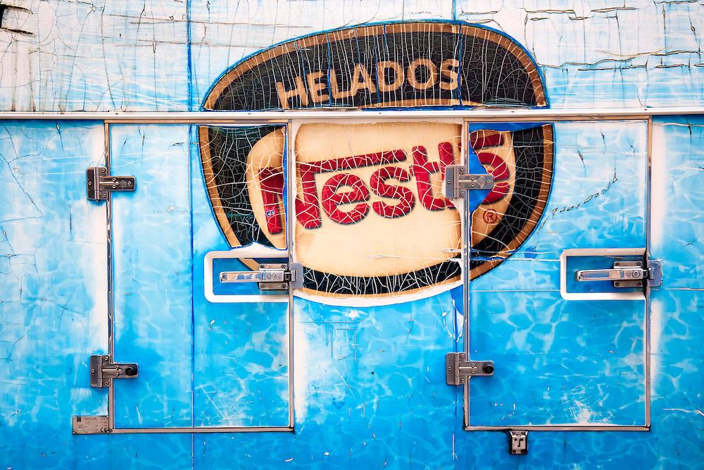 Faded Nestle sign on ice cream truck in Havana Vieja, Cuba.