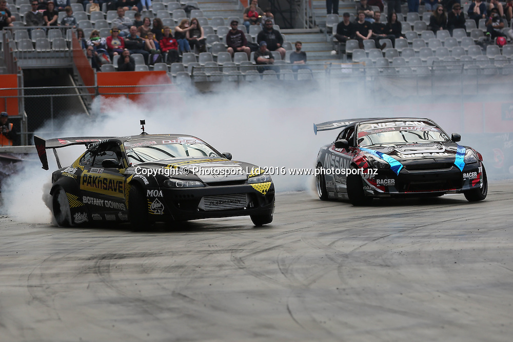 Ben Wilkinson, left, and Darren Kelly, right, compete in their Demon Energy D1NZ National Drifting Championship heat race, Forsyth Barr Stadium, Dunedin, New Zealand, Saturday, December 3, 2016. © Copyright photo: Adam Binns / www.photosport.nz