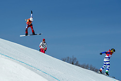 PYEONGCHANG, SOUTH KOREA - FEBRUARY 16:  Michela Moioli #2 of Italy, Chloe Trespeuch #6 of France (L)  during the Ladies' Snowboard Cross on day seven of the PyeongChang 2018 Winter Olympic Games at Phoenix Snow Park on February 16, 2018 in Pyeongchang-gun, South Korea. Photo by Ronald Hoogendoorn / Sportida