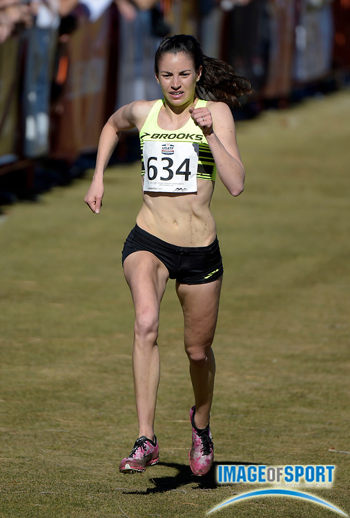 Feb 7, 2015; Boulder, CO, USA; Angela Bizzarri places seventh in the womens race in 28:33 in the 2015 USA Cross Country Championships at Flatirons Golf Course.