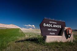 National Park Service welcome sign for Badlands National Park, South Dakota, United States of America