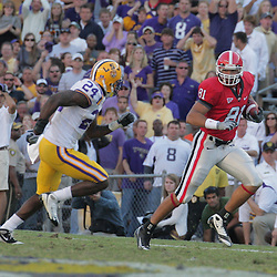 25 October 2008: Georgia tight end Aron White (81) runs after a catch as LSU running back Patrick Lipoma (24) pursues during the Georgia Bulldogs 52-38 victory over the LSU Tigers at Tiger Stadium in Baton Rouge, LA.