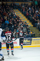 KELOWNA, CANADA - DECEMBER 3: Colten Martin #8 of Kelowna Rockets celebrates a goal against the Saskatoon Blades on December 3, 2014 at Prospera Place in Kelowna, British Columbia, Canada.  (Photo by Marissa Baecker/Shoot the Breeze)  *** Local Caption *** Colten Martin;