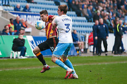 Bradford City forward Alex Jones (19) battles with Coventry City defender Chris Stokes (3) for the ball during the EFL Sky Bet League 1 match between Coventry City and Bradford City at the Ricoh Arena, Coventry, England on 11 March 2017. Photo by Simon Davies.