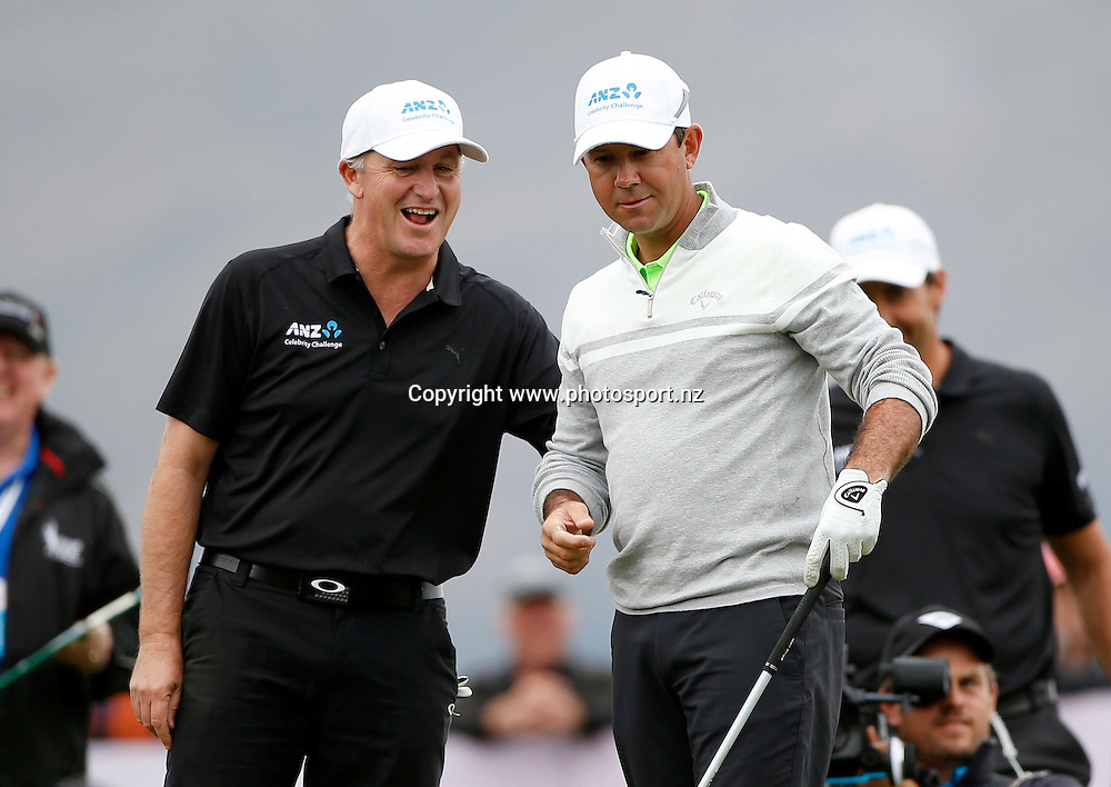 Prime Minister John Key and Ricky Ponting during the final round of the 2016 BMW ISPS Handa New Zealand Open, The Hills, Arrowtown, New Zealand.13 March 2016. Photo by Michael Thomas/www.photosport.nz