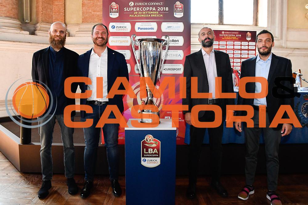 cancellieri diana buscaglia galbiati<br /> presentazioe supercoppa 2018<br /> Legabasket Serie A 2018/19<br /> Brescia, 24/09/2018<br /> Ciamillo-Castoria