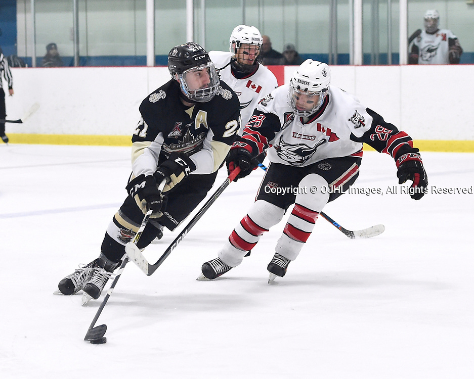 GEORGETOWN, ON - APR 18,  2017: Ontario Junior Hockey League, Championship Series. Georgetown Raiders vs the Trenton Golden Hawks in Game 3 of the Buckland Cup Final.  Jeremy Pullara #21 of the Trenton Golden Hawks battles for the puck with Josh Dickinson #28 of the Georgetown Raiders during the third period.<br /> (Photo by Andy Corneau / OJHL Images)