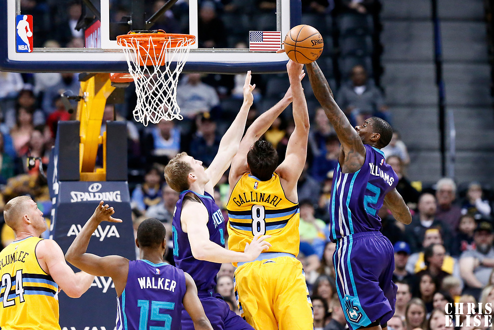 04 March 2017: Denver Nuggets forward Danilo Gallinari (8) is blocked by Charlotte Hornets forward Marvin Williams (2) during the Charlotte Hornets 112-102 victory over the Denver Nuggets, at the Pepsi Center, Denver, Colorado, USA.