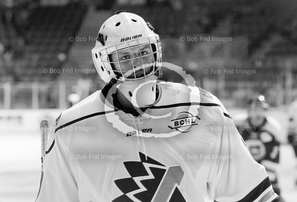 23 November 2013:  goalie Spencer Tremblay (1) of the Chiefs  during a game between the Chilliwack Chiefs and the Langley Rivermen at Prospera Centre, Chilliwack, BC.    Final Score: Chilliwack 0 Langley 4   ****(Photo by Bob Frid - All Rights Reserved 2013): mobile: 778-834-2455 : email: bob.frid@shaw.ca ****