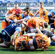 Taine Basham of Dragons scores his sides first try<br /> <br /> Photographer Simon King/Replay Images<br /> <br /> Guinness PRO14 Round 9 - Cardiff Blues v Dragons - Thursday 26th December 2019 - Cardiff Arms Park - Cardiff<br /> <br /> World Copyright © Replay Images . All rights reserved. info@replayimages.co.uk - http://replayimages.co.uk