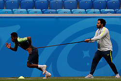 June 21, 2018 - Saint Petersburg, Russia - Fred (L) of Brazil national team during a Brazil national team training session during the FIFA World Cup 2018 on June 21, 2018 at Saint Petersburg Stadium in Saint Petersburg, Russia. (Credit Image: © Mike Kireev/NurPhoto via ZUMA Press)