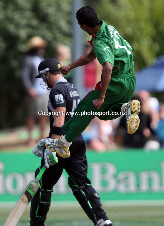 Shafiul Islam celebrates taking the wicket of Brendon McCullum.<br /> Cricket - 2nd ODI New Zealand Black Caps v Bangladesh, 8 February 2010, University Oval, Dunedin, New Zealand.<br /> International Cricket Season 2009/2010<br /> Photo: Rob Jefferies/PHOTOSPORT