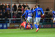 GOAL Everyone watches as Calvin Andrew's shot makes it 2-0 during the EFL Sky Bet League 1 match between Rochdale and Chesterfield at Spotland, Rochdale, England on 26 December 2016. Photo by Daniel Youngs.
