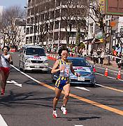 Japan's Olympic gold medalist Mizuki Noguchi finishes sixth in the Nagoya Women's Marathon.