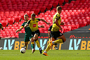 Notts County striker Callum Roberts (37) makes a challenge for the ball during the Vanarama National League Promotion Final match between Harrogate Town and Notts County at Wembley Stadium, London, England on 2 August 2020.