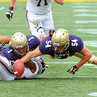 03 September 2016:   Navy Midshipmen linebacker Taylor Heflin (54) recovers the opening kick off fumble by Fordham Rams defensive back Jihaad Pretlow (24) at the Navy Marine Corps Stadium in Annapolis, MD.