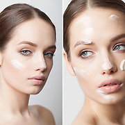 Beauty skincare photoshoot with a beautiful model Olga with the A S Management Warsaw.