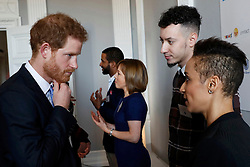 Prince Harry talks with marathon participants at the Institute of Contemporary Arts in central London where he outlined the next phase of the mental health Heads Together campaign.
