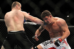 September 24, 2010; Indianapolis, IN; USA; Frank Mir and Mirko Cro Cop during their bout at UFC 119 at the Conseco Fieldhouse in Indianapolis, IN. Mir won via 3rd round KO.