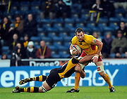 Twickenham, GREAT BRITAIN,  Joe WORSLEY tackles Dragons Joe BEARMAN, during the EDF Energy Cup rugby match,  London Wasps vs Newport Gwent Dragons, at Adams Park Stadium, on 02.11.2008 [Photo, Peter Spurrier/Intersport-images]