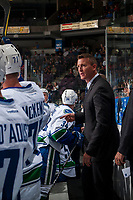 PENTICTON, CANADA - SEPTEMBER 8: Trent Cull, head coach of the Vancouver Canucks on September 8, 2017 at the South Okanagan Event Centre in Penticton, British Columbia, Canada.  (Photo by Marissa Baecker/Shoot the Breeze)  *** Local Caption ***