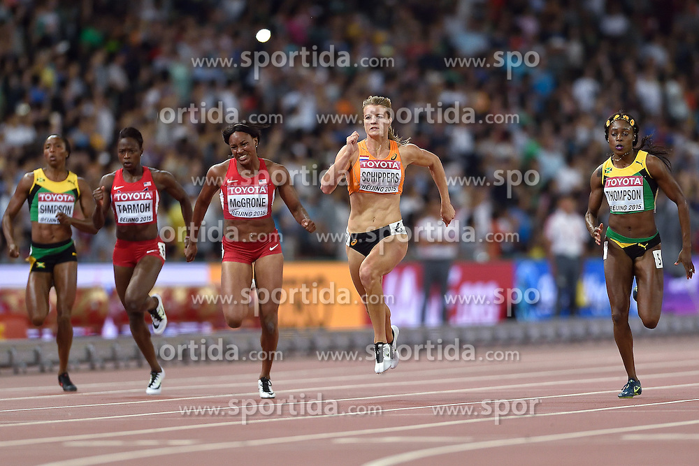 28-08-2015 CHN: IAAF World Championships Athletics day 7, Beijing<br /> Dafne Schippers (NED) winning at 200 m with World Championship Record.<br /> (R-L) Elaine Thompson JAM, Dafne Schipperd NED, Candyce McGrone USA, Jeneba Tarmoh USA, Sherone Simpson JAM<br /> Photo by Ronald Hoogendoorn / Sportida