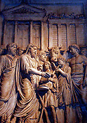 Relief depicting imperial triumph. This panel shows Marcus Aurelius celebrating a sacrifice in front of the temple of Jupiter Capitolinus. Roman. Circa 2nd century AD.