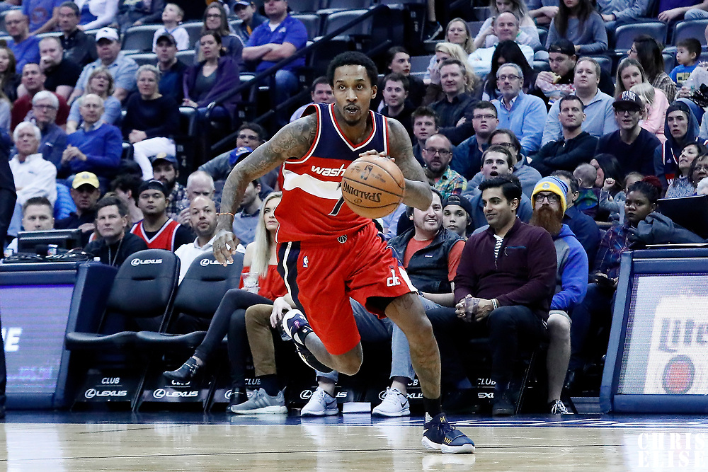 08 March 2017: Washington Wizards guard Brandon Jennings (7) drives during the Washington Wizards 123-113 victory over the Denver Nuggets, at the Pepsi Center, Denver, Colorado, USA.