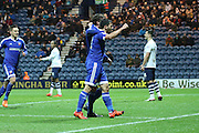 Brentford players celebrate during the Sky Bet Championship match between Preston North End and Brentford at Deepdale, Preston, England on 23 January 2016. Photo by Pete Burns.