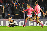 Hamish Watson scores opening try during the European Rugby Challenge Cup match between Edinburgh Rugby and Stade Francais at Murrayfield Stadium, Edinburgh, Scotland on 12 January 2018. Photo by Kevin Murray.