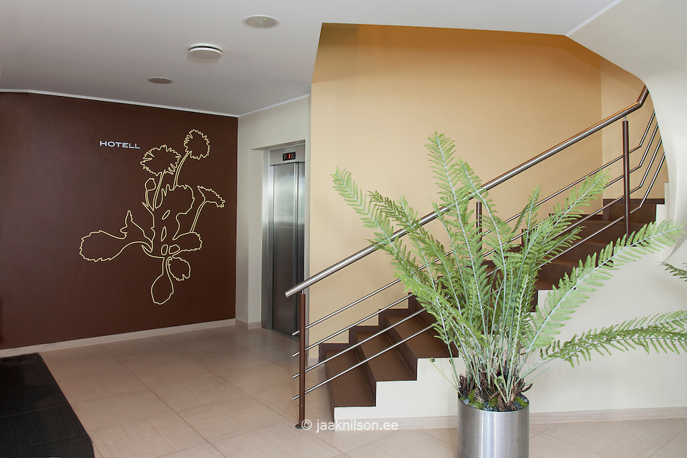 hotel stairwell and lobby