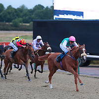 Fast Pace and Robert Havlin winning the 8.45 race