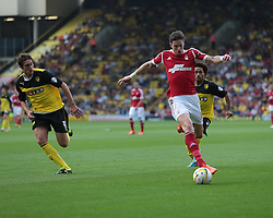 Nottingham Forest's Greg Halford is tracked by Watford's Gabriele Angella  - Photo mandatory by-line: Nigel Pitts-Drake/JMP - Tel: Mobile: 07966 386802 25/08/2013 - SPORT - FOOTBALL -Vicarage Road Stadium - Watford -  Watford v Nottingham Forest - Sky Bet Championship