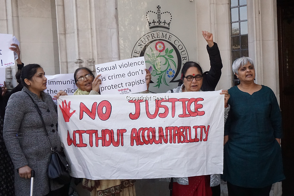 Supreme Court, London, UK. 13th Mar 2017. Pragna Patel - Southhall Black Sisters demonstration outside Supreme Court will begin hearing 'Worboys' case concerning two victims of a serial rapist who were seriously let down by a catastrophic litany of failures in the police's investigation into their reports of rape, London,Uk. by See Li