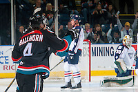 KELOWNA, CANADA - OCTOBER 21: Gordie Ballhorn #4 of the Kelowna Rockets celebrates a goal against the Tri-City Americans on October 21, 2016 at Prospera Place in Kelowna, British Columbia, Canada.  (Photo by Marissa Baecker/Shoot the Breeze)  *** Local Caption *** Gordie Ballhorn;