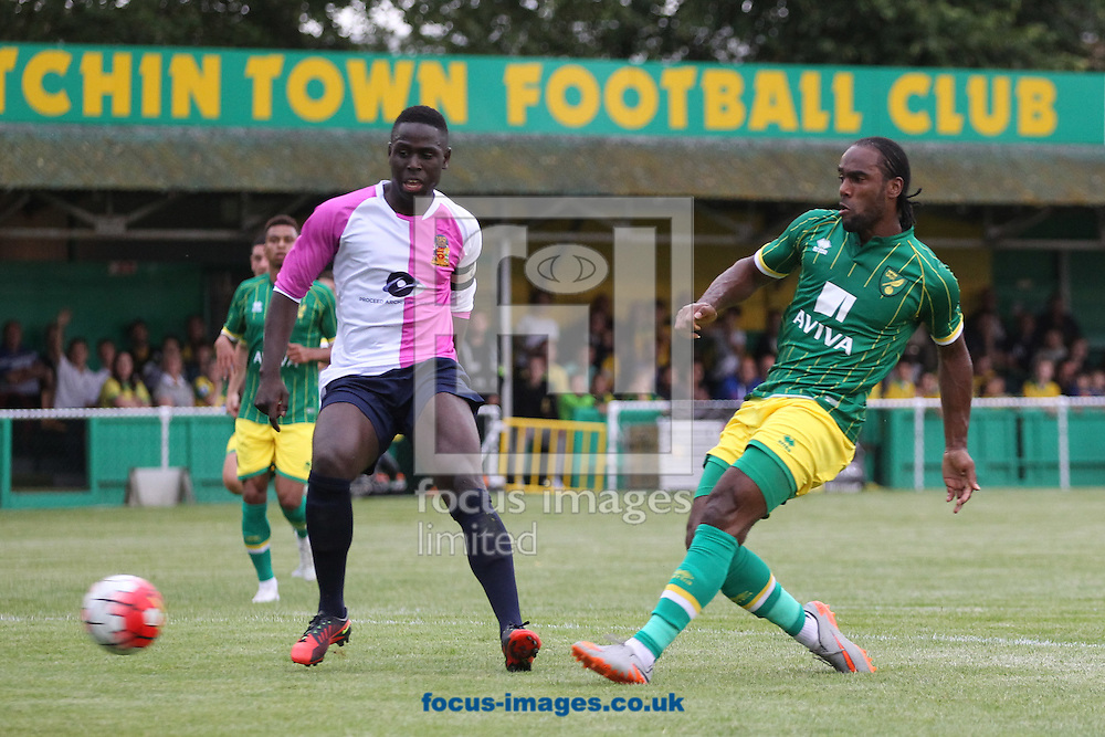 Cameron Jerome of Norwich has a shot on goal during the pre season friendly match at Top Field, Hitchin<br /> Picture by Paul Chesterton/Focus Images Ltd +44 7904 640267<br /> 14/07/2015