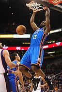 Feb. 4, 2011; Phoenix, AZ, USA; Oklahoma City Thunder guard James Harden (13) dunks the ball against the Phoenix Suns at the US Airways Center. Mandatory Credit: Jennifer Stewart-US PRESSWIRE
