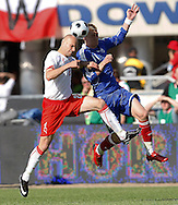 CHORZOW 01/06/2008.POLAND v DENMARK.INTERNATIONAL FRIENDLY.MARIUSZ JOP OF POLAND AND NICKLAS BENDTNER OF DENMARK ..FOT. PIOTR HAWALEJ / WROFOTO