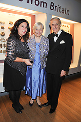 Left toright, LISA YACOUB and PROF.SIR ELDRYD & LADY PERRY at the annual Chain of Hope's annual Gala Ball held at the Natural History Museum, London on 8th November 2012.