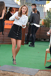 LUCY WATSON at the launch of the Orangina Boulers Rooftop Petanque held on the top floor of the Stratford Multistorey Car Park, Great Eastern Way, London E15 on 26th August 2015.
