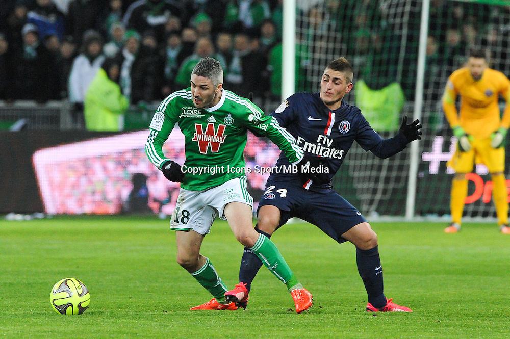 Fabien LEMOINE / Marco VERRATTI - 25.01.2015 - Saint Etienne / PSG - 22eme journee de Ligue1<br /> Photo : Jean Paul Thomas / Icon Sport